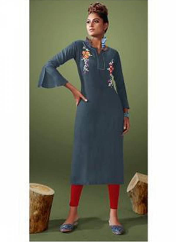 Shubh Magazine Rayon Slub Embroidery Worked Casual Worked Kurtis Collection