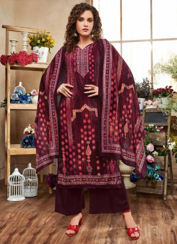 Neha Fashion Tanisha Series 74001-74006 Velvet Digital Print With Additional Diamond Work Winter Palazzo Suits Collection