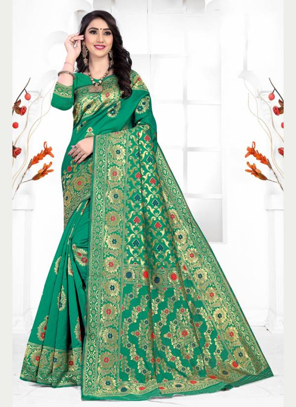 Kodas Lilly 8379A-8379D Silk Fancy Look Handloom Jacquard New Designer & Trendy wear  Sarees Collection For Women