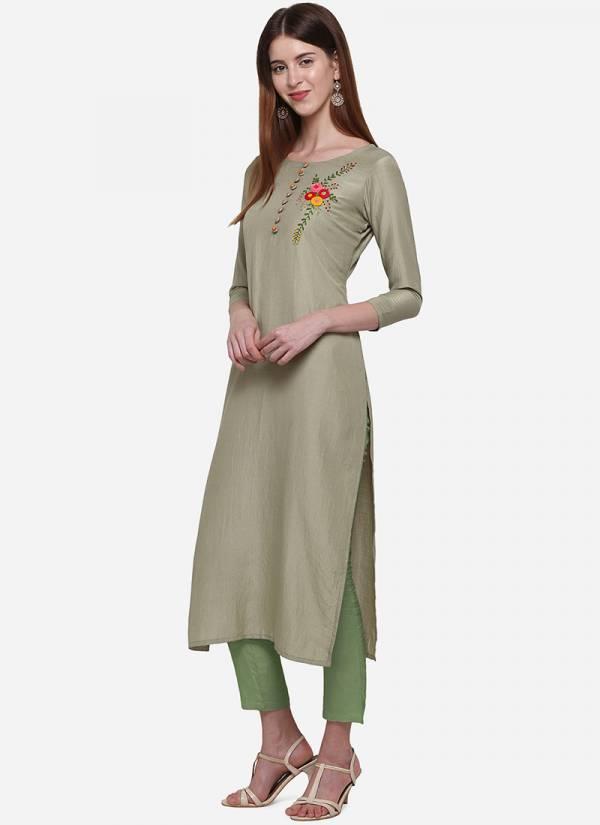 KVS High Line Series KVSKR723KSL-KVSKR728KSL Muslin With Embroidery Work Daily Wear Straight Cut Kurtis Collection