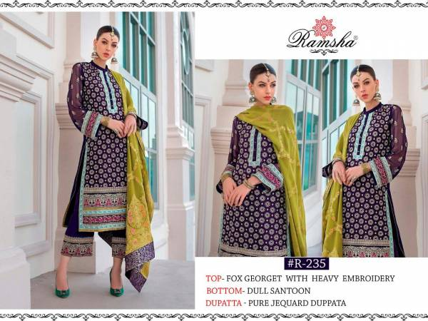 Ramsha Zainab Chotani Georgette With Heavy Embroidery Work Designer Salwar Suit Collection
