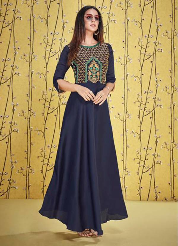 Shubh NX Afshana Vol 1 Series 4001-4008 Satin Georgette With Stylish Heavy Work  Designer Casual Wear Gown Style Kurtis Collection