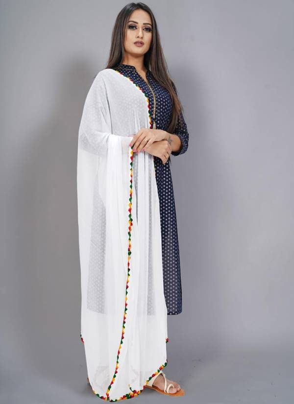 Vilohit Enterprise Flowers Series Flowers-1 Heavy Nazneen Daily Wear New Fancy White Dupatta Collection For Girls