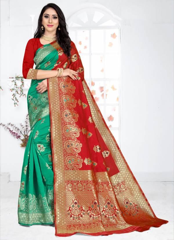 Kodas Grah Laxmi 8153 Series A-D Latest Handloom Jacquard Stylish Look Fancy Sarees Collection