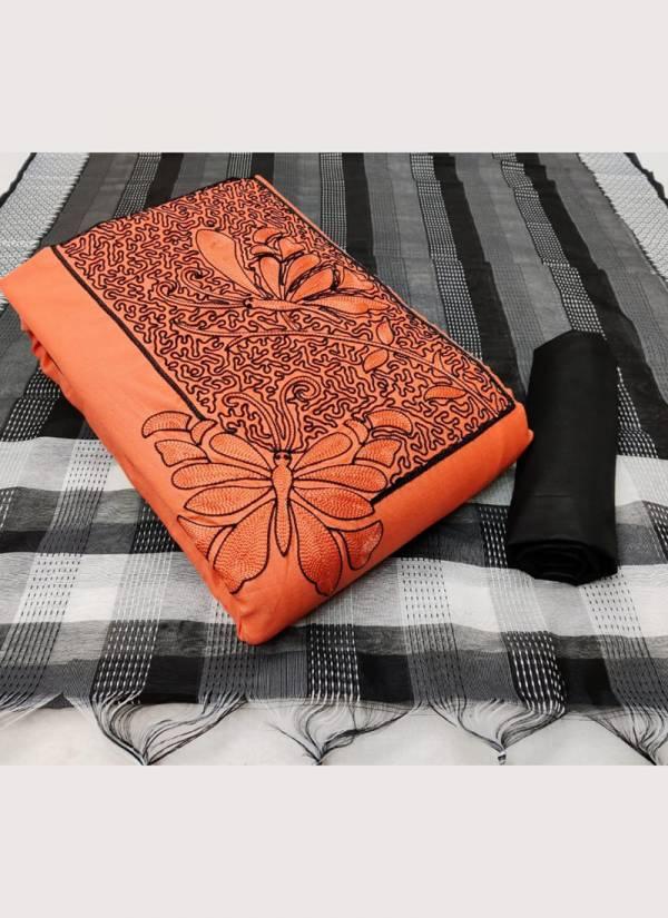 Designer Suits Series COTTON 01-COTTON 04 Slub Cotton With Fancy Work Latest Exclusive Non Catalog Dress Material Suits Collection