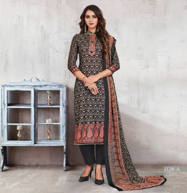 Bipson Aashi Series 1128A-1128D New Woollen Pashmina Digital Print Casual Wear Suits Collection