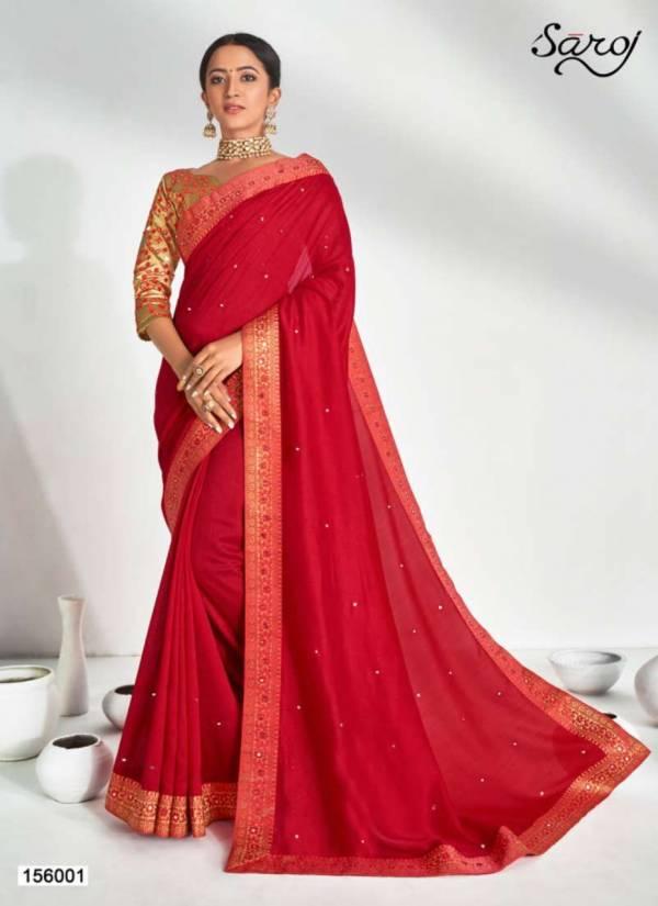 Saroj Krutika Series 156001-156006 Vichitra Silk With Mirror Work Latest Designer Party Wear Sarees Collection