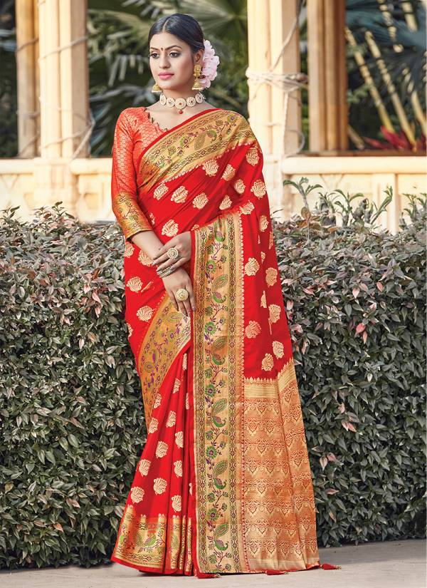 Sangam Prints Tanvika Silk Fancy Embroidery Work With Rich Pallu Designer Sarees Collection