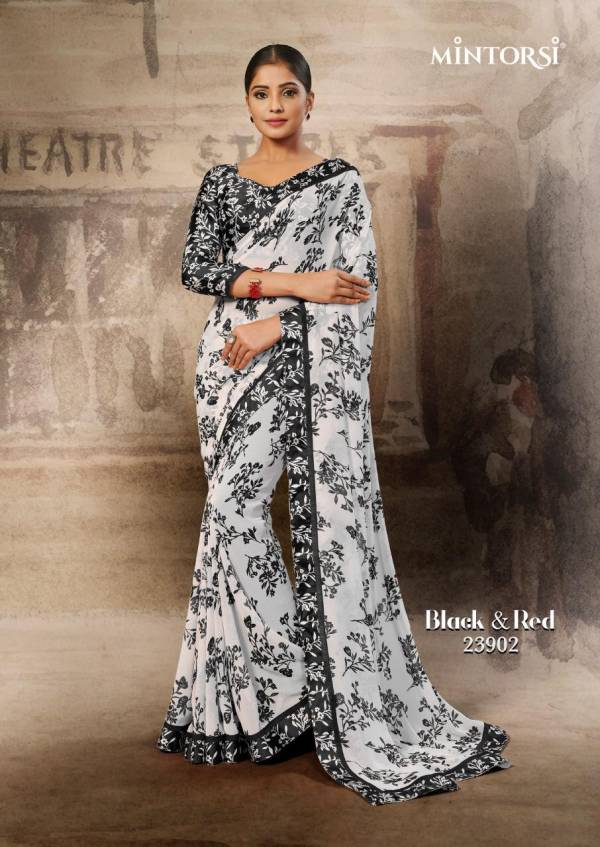 Mintorsi Black & Red Series 23901-23910 Weightless With Satin Lace Fancy Printed Daily Wear Sarees Collection