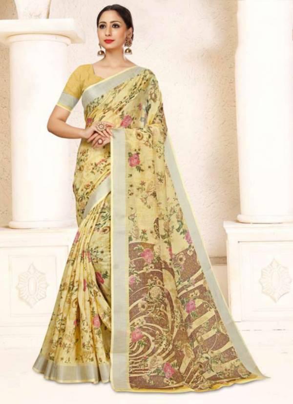 Ishika Rashi Linen Series 1037-1042 Linen Fancy Printed Designer Casual Wear Sarees Collection