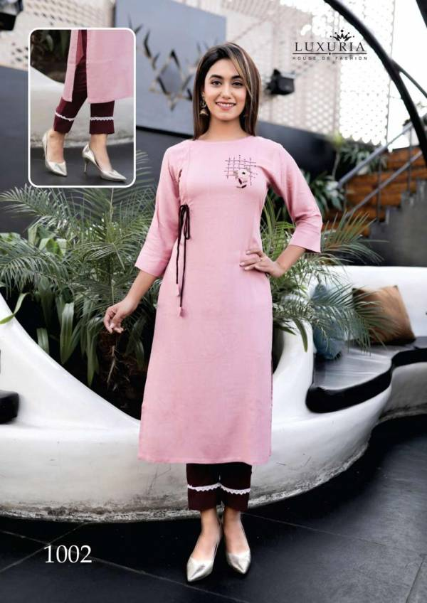 Luxuria Fashion Carnival Series 1001-1005 Rayon Slub Hand Work New Style Kurtis With Pants Collection