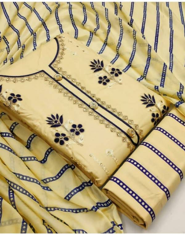 Designer Suit Cotton With Embroidery Work Dress Material Collection