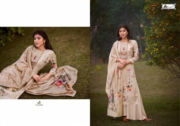 Kesar Erika Pure Jam Digital Print With Kashmiri Work Palazzo Suits Collection