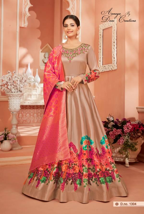 Dani Fashion Aanaya Vol 113 Series 1301-1304 Monga Satin Silk Latest Designer Wedding Wear Suits Collection