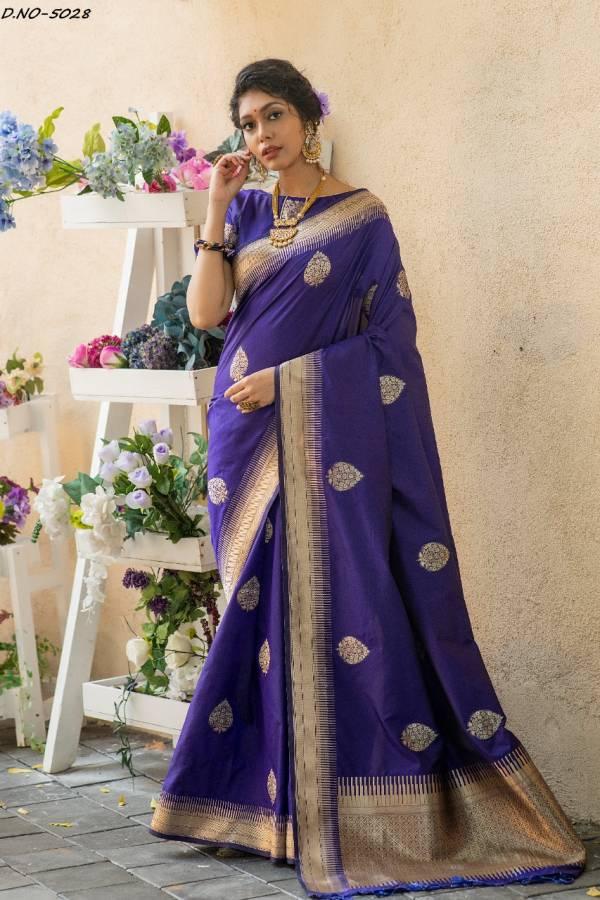 Ladys Ethnic Soft Banarasi Silk Zari Work Wedding Wear Designer Sarees Collection