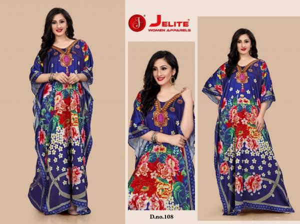 Jelite Kaftans Smooth Satin Digital Print Fancy Designer Kaftans Collection