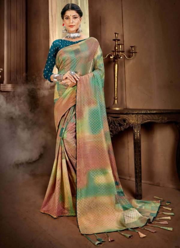 5D Designer Bansuri Twill Silk Digital Print With Foil Printed Party Wear Designer Sarees Collection