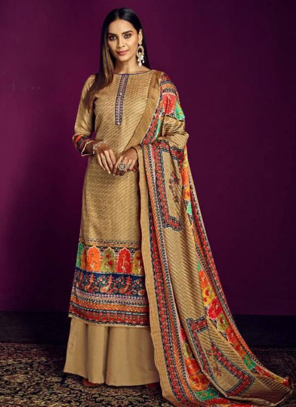 Sargam Prints Ajrakh Series 208-001 - 208-006 Pure Pashmina Designer Foil Prints Trendy Look Regular Wear Palazzo Suits Collection