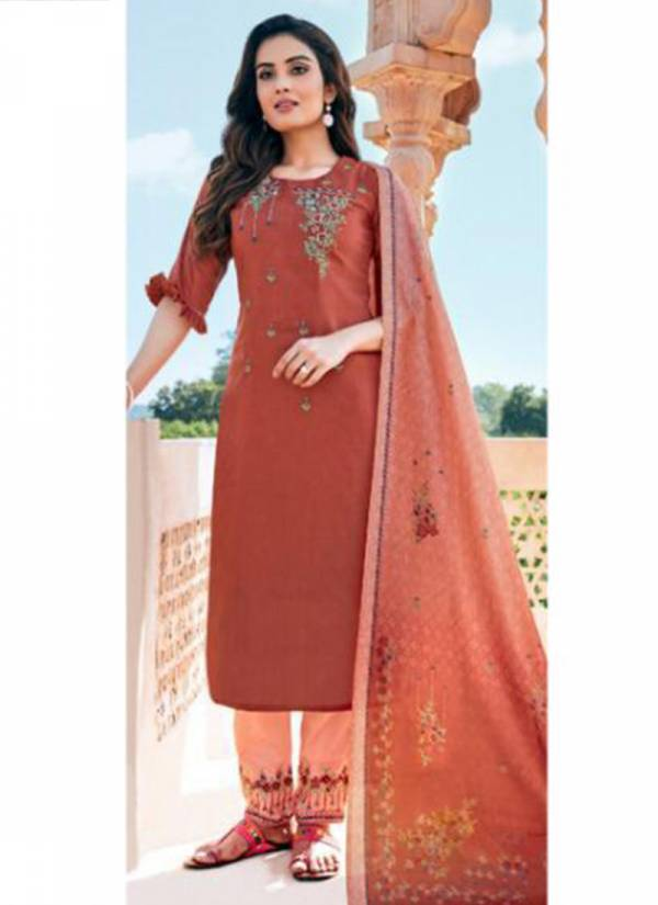 Parra Studio Mahisha Series 1001-1005 Chinon Jam Cotton Embroidery With Khatli Work Festival Wear Readymade Salwar Suit Collections