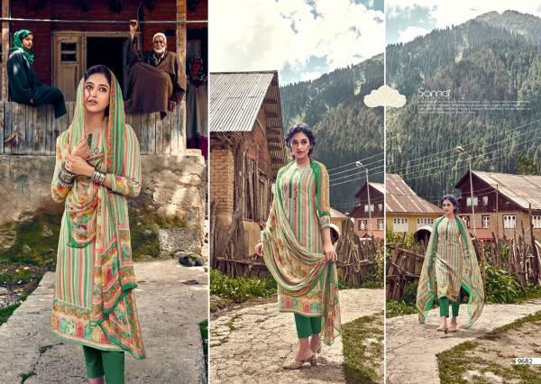 Sanskruti Habibah Series 9674-9683 Pure Pashmina With Digital Print And Stylish Hand Work Winter Season Suits Collection