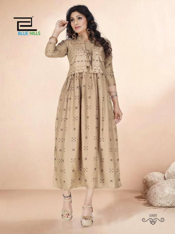 Blue Hills Super 6 Rayon Gold Printed Separate Jacket Style Kurtis Collection