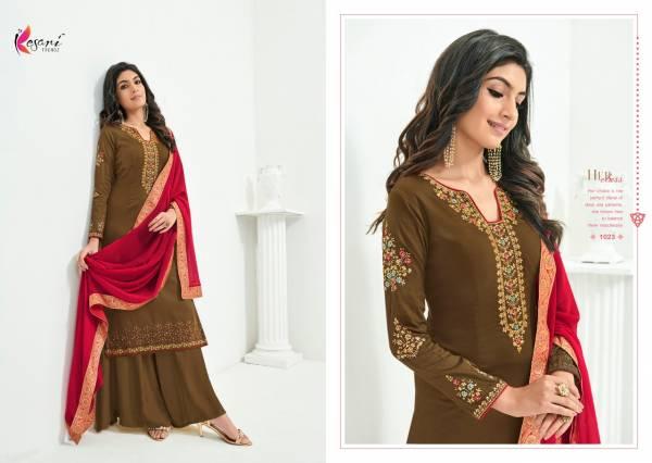 Kesari Trendz Rajoo Jam Silk  Embroidery Work  Palazzo Suits Collection