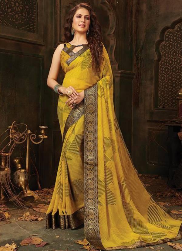 Saroj Ronita Series 1001-1010 Negative Printed And Beautiful Border Work Casual Wear Weightless Sarees Collection