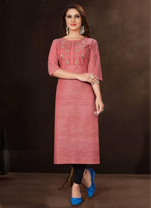 Dehliz Trends Olive Series 1001-1010 Gallexy Cotton With Stylish Embroidery Work Kurti Collection