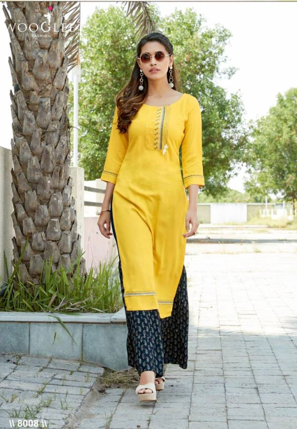 Wooglee Rose Vol 2 Series 8007-8012 Heavy Rayon With Embroidery & Hand Work Party Wear Kurtis With Sharara Collection