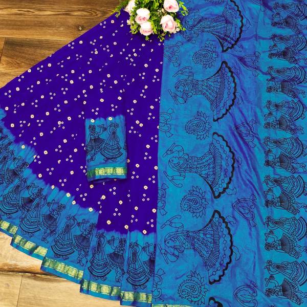 Nakshatra Fashion Studio Bandhani Saree Vol 12 Series B-1 - B-8 Art Silk With Jacquard Border Bandhani Print Sarees Collection