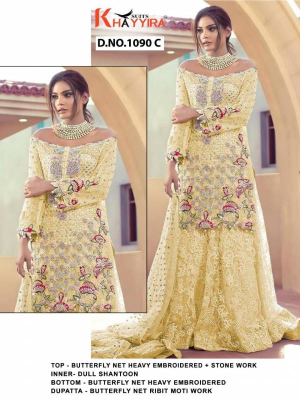 Khayyira Saira DN 1090 Heavy Butterfly Net Embroidered Semi Stitch With Stone Work Designer Pakistani Suits Collection