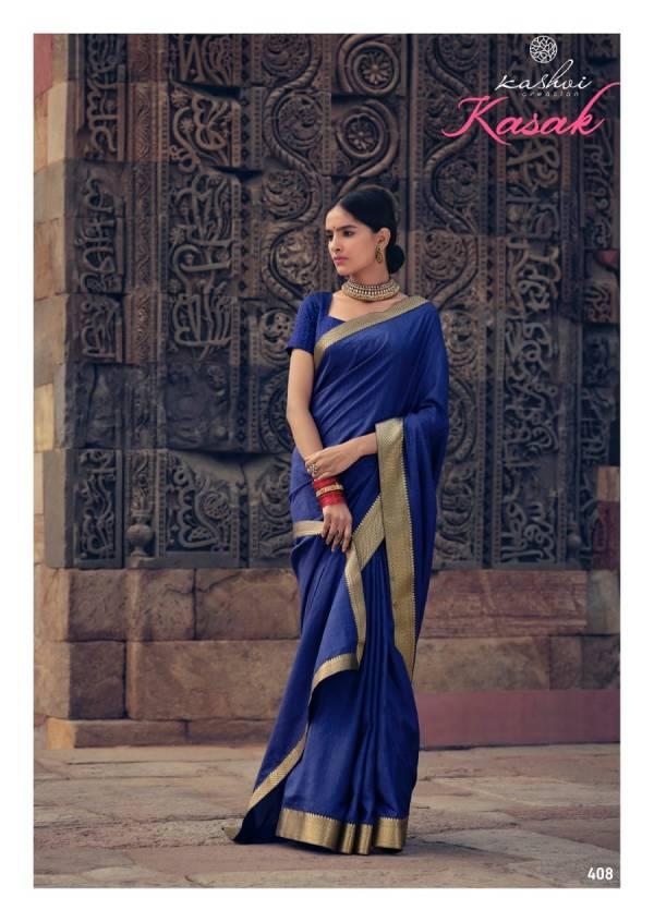 Kashvi Creation Kasak Series 401-410 Vichitra Silk With Heavy Lace Fancy Stylish Look Casual Wear Sarees Collection