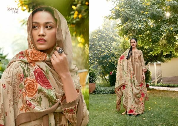 Sanna Fashion Rumana Series 3586-3595 Pure Pashmina With Digital Print Fancy Woek Winter Season Suits Collection
