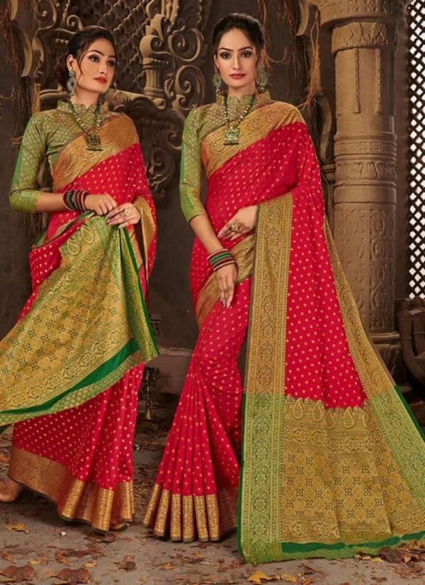 Saroj Mudra Series 1001-1006 Jacquard Silk Exclusive Festival Wear Sarees Collection