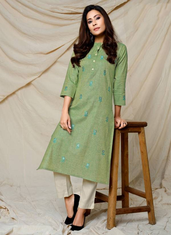 Indira Apparel Finesse Series 4101-4106 Woven Cotton With Embroidery Work Latest Designer Casual Wear Kurtis Collection