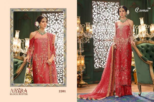 Cosmos Aayra Series 2201-2204 Faux Georgette New Designer Party Wear Pakistani Suits Collection