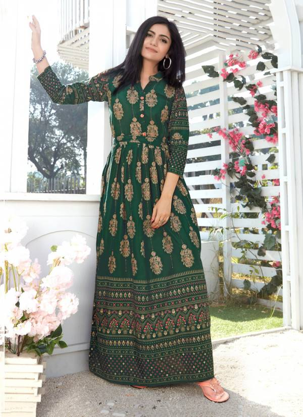 Rangjyot Shehnaaz Vol 4 Series 401-410 Rayon With Gold Print Designer Long Fancy Casual Wear Kurti Collection