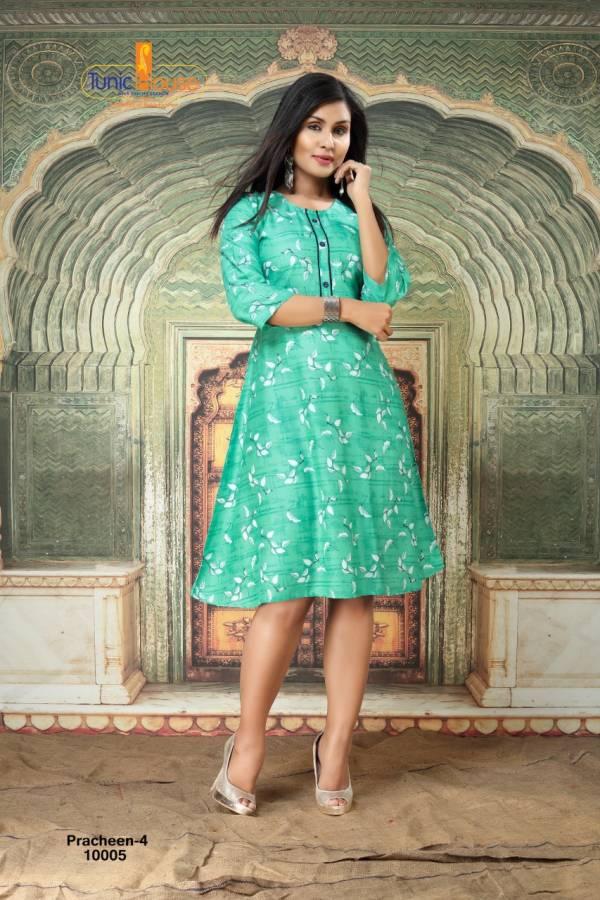 Tunic House Prachhan Vol 4 Rayon Viscose Printed Work Festival Wear Designer Kurti Collection