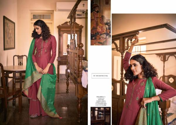 Nishant Fashion Almarina Series 1001-1006 Premium Silk With Fancy Embroidery Work Festival Wear Palazzo Suits Collection