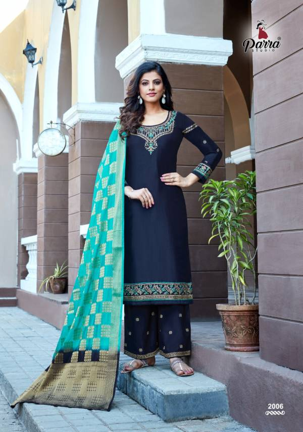 Parra Studio Lihaaz Chinnon With Embroidery Hand Work Readymade Salwar Suits Collection