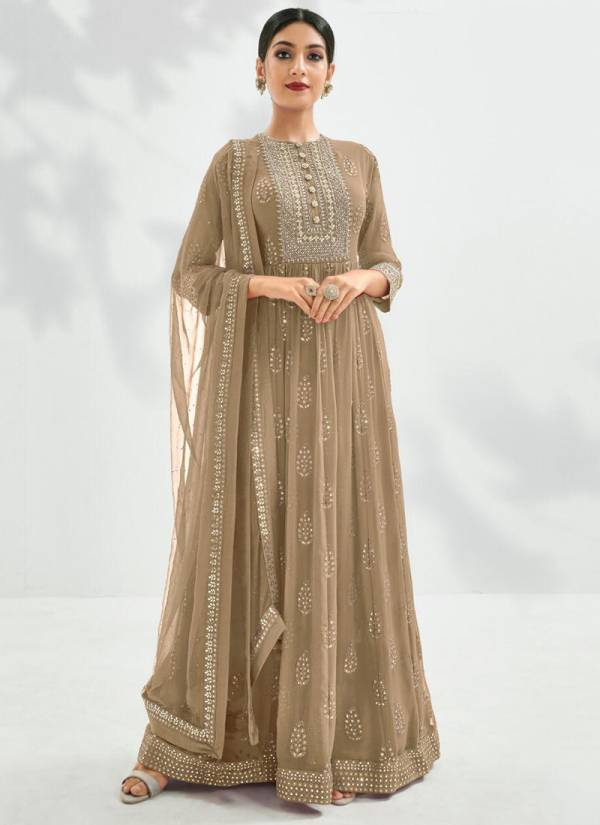 Eba Lifestyle Prime Rose Gold Series 1177-1180 Semi Pure With Heavy Embroidery Work Anarkali Suits Collection