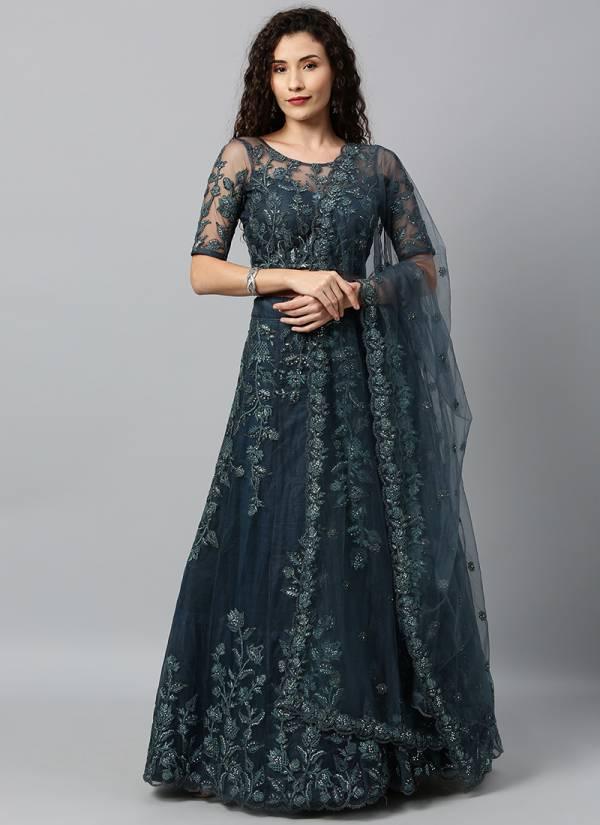 Kesari Exports Series 5007-5205 Net & Satin Silk With Thread Coading And Mirror Sequence Work Designer lehenga Choli Collection
