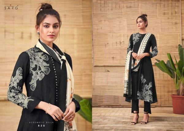 Sarg Acromatic Bella Muslin Silk Diggital Print With Hand Work Salwar Suits Collection