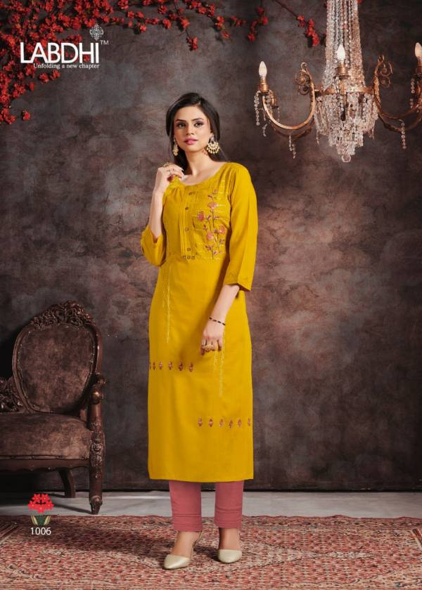 Labdhi Vamika Rayon Slub Fancy Heavy Embroidery Work Kurti With Pant Collection
