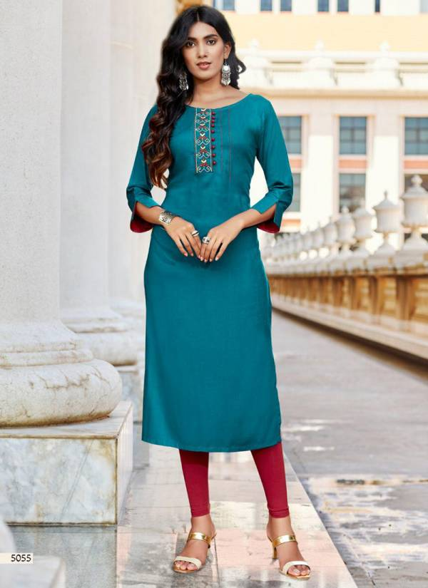 Koodee Pahal Vol 8 Series 5051-5057 Premium Quality Rayon With Embroidery Work Festival Wear Kurti Collection