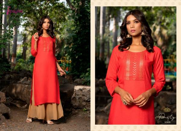 Psyna Pastry Rayon With Fancy Sequence Work Kurtis Collection