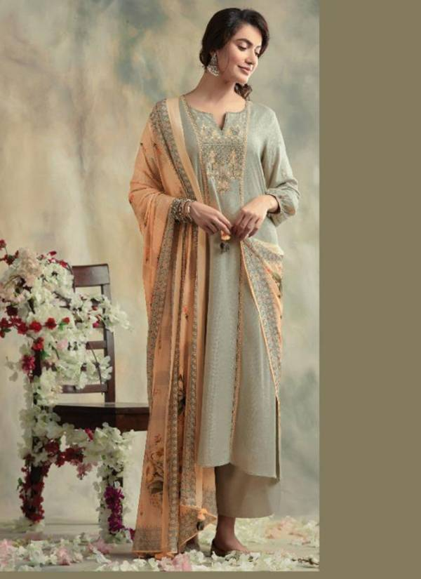 Kimora Bahaar Series 8001-8007 Pashmina Diamond Spun Wool Dyed With Fancy Embroidery Work Winter Suits Collection