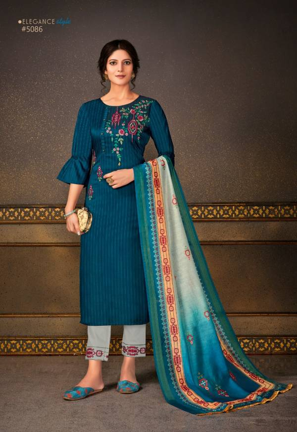 Lily & Lali Madhubala Series 5081-5088 Stripe Pattern Bamberg Silk Designer Casual Wear Readymade Salwar Suits Collection