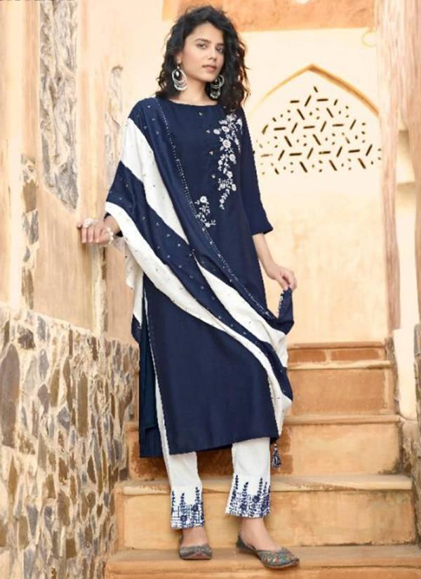 Kalki Fashion Sanskruti Series 59001-59006 Pure Chinnon Silk Thread Work Office Wear Readymade Salwar Suits Collection