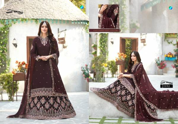 Your Choice Rich Look Vol 3 Series 3589-3592 Satin Georgette With Heavy Embroidery Work And Can Can Stitch Latest Designer Wedding Wear Lehenga Suits Collection